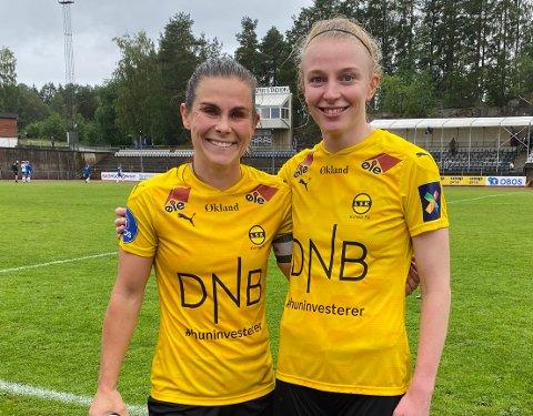 SIKRET SEIER: Emilie Haavi og Ina Gausdal scoret hvert sitt mål på Sofiemyr lørdag.