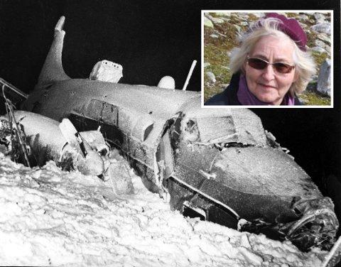 DRAMATISK: To personer omkom og ti overlevde da et Heron-fly styrtet på Hummelfjell i 1956. Bodil Flormælen (85) er i dag den eneste gjenlevende etter ulykken.