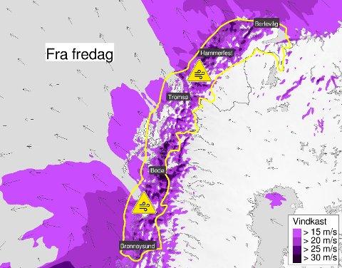 Vindkastene blir heftige utsatte steder i Salten og Nord-Norge.