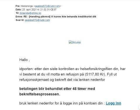 SVINDEL: Her er e-posten Jon Brænden fikk. Heldigvis lot han seg ikke lure.