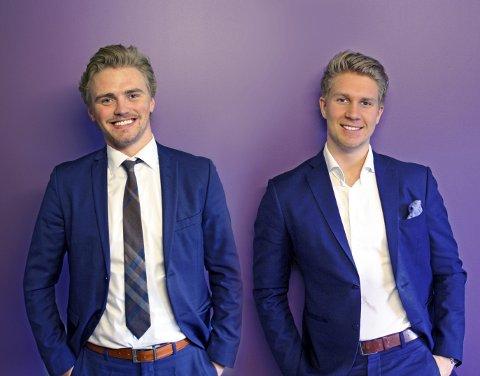 FORNØYDE: Dan Mario Røian og Joachim Gustavsen har stor tro på at appen Jyb vil snu opp ned på rekrutteringsbransjen i Norge.Pressefoto