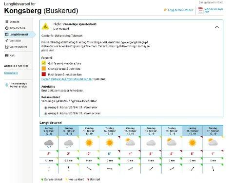 VARMEGRADER: Fredag kveld og lørdag skal de regne i Kongsberg og Numedal. Yr har sendt ut OBS varsel om vanskelige kjøreforhold.