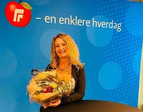 TREDJE: Det var en glad Unni Nilsen Husøy fra Lyngdal som ble nominert på tgrejeplass på Frps liste til stortingsvalget.