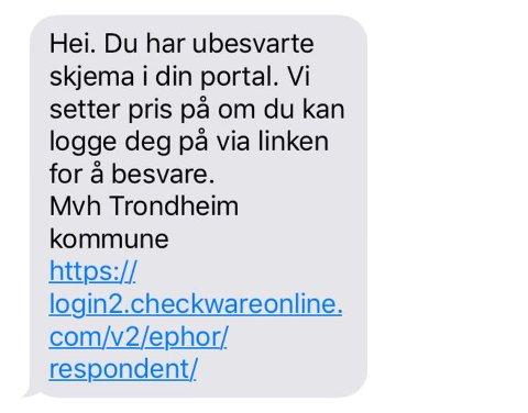 Falsk: Trondheim kommune ville ikke ha sendt ut sms med en slik lenke, skriver kommunen.