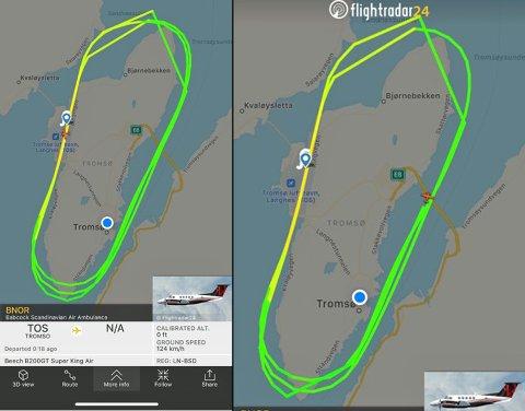RUNDT OG RUNDT: Klokken 20.15 er luftambulanseflyet registrert som LN-BSD på sin femte tur rundt Tromsøya.
