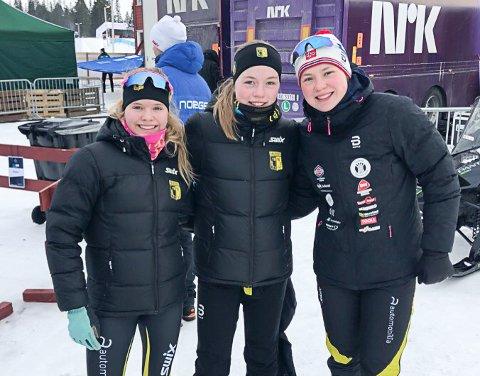 Raufoss' lag på NM-stafetten; fra venstre Synne Børresen Bollingmo, Janne Ballangrud Seierstad, Dorthe Ballangrud Seierstad.