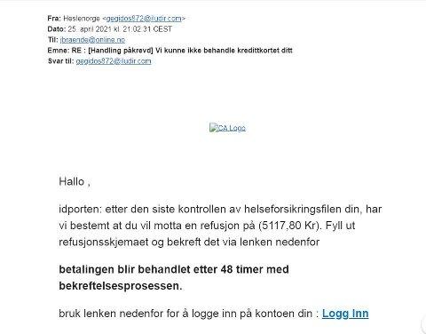 SVINDEL: Her er e-posten Jon Brænden fikk. Heldigvis lot han seg ikke lure. Foto: Bjørn Bjørkli