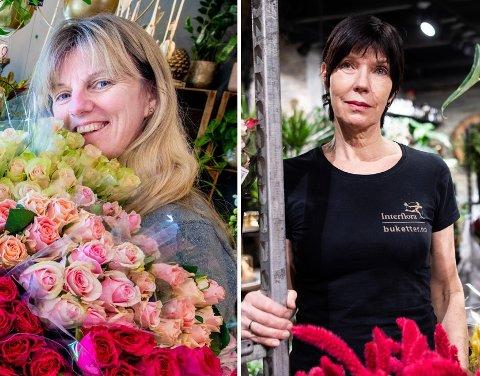 STOR FORSKJELL: Hverdagen er totalt forskjellig for Anita Linder (t.v.) og Margit Sagvolden. Begge driver blomsterbutikk, men bare en av dem kan holde åpent.