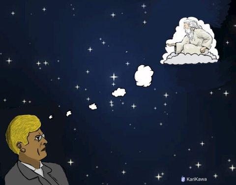 «Hvem er ikke blitt overveldet av nattehimmelens glitrende stjernedryss og over presisjonen i skaperverket, det som fra et kristelig ståsted vitner om Guds allmakt, logiske tankegang og handlekraft?», skriver pastor Terje Berg - med utgangspunkt i Knut Hamsuns betraktninger. (Illustrasjon: Kawa Ahmed)