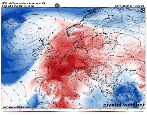 HET JUNI: Etter en kjølig april og mai i Europa, har kontinentet denne uken sett gradestokken stige til over 30 grader Celsius flere steder. Kartet viser hvor de største temperaturavvikene fra normalen er ventet onsdag.