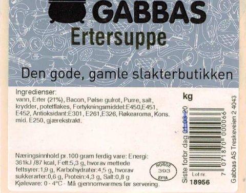 Gabbas ertesuppe tilbakekalles fra markedet, grunnet funn av insekter som er brukt i produksjonen.