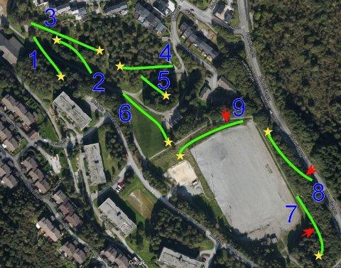 Kart over ny frisbeegolfbane på Flaktveit.