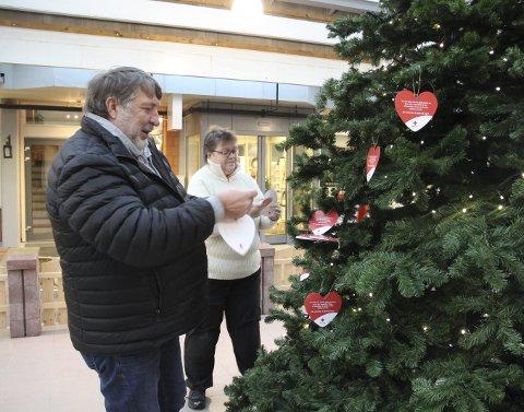 Gavetre: Ottar Delerud og Anita Kopstad er frivillige i Røde Kors, og har ansvaret for treet i Gågata der barn har hengt opp sine ønsker