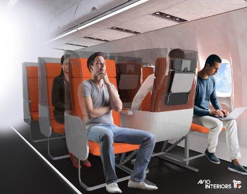 Den italienske flyseteprodusenten Aviointeriors har lansert et nytt forslag til flysetedesign. Flysetedesignet «Janus» har til hensikt å ivareta smittevern om bord i passasjerflyene. Foto: Aviointeriors