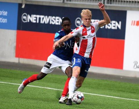 KVIKS BESTE: Marius Aamodt Eriksen spilte en god kamp på Intility Arena, og hadde også målgivende til Kviks utligningsmål.