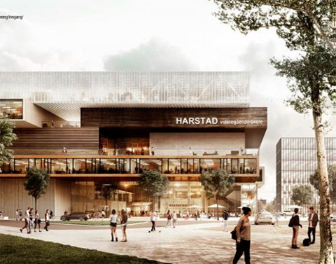 IKKE PLASS: Tomta som fylkeskommunen har ervervet til ny videregående skole og idrettshall er ikke stor nok til Harstad kommunes ønsker om storstue for idrett.