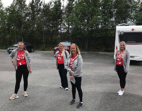 Dovile Cesiunaite, Martine Eik Ljostveit, Jeanette Bakke Handeland og Therese Langeland har patruljert for LO Vestland. (Pressefoto).