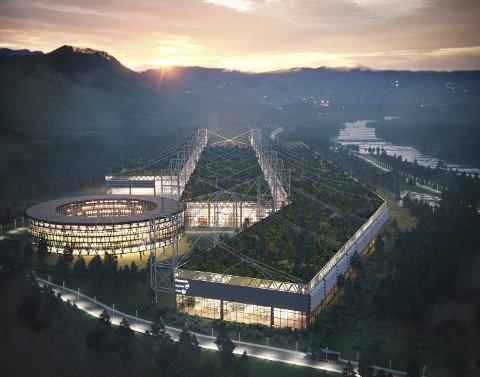 MANGE OM BEINET: En slik batterfabrikk som det er tegnet her, er det mange steder i Norge som håper å få. Kongsberg er en av dem, og søknaden deres ligger vedlagt i artikkelen.