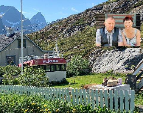 Slik så styrhuset ut da Lofot-Tidende kjørte forbi hagen til Turid Helene Aksberg og Edgar Larsen (innfelt) på Sund i fjor sommer.