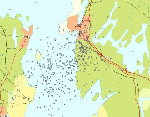 MANGE NEDSLAG: Tordenværet ser ut til å ha preget Rygge, Moss og Oslofjorden