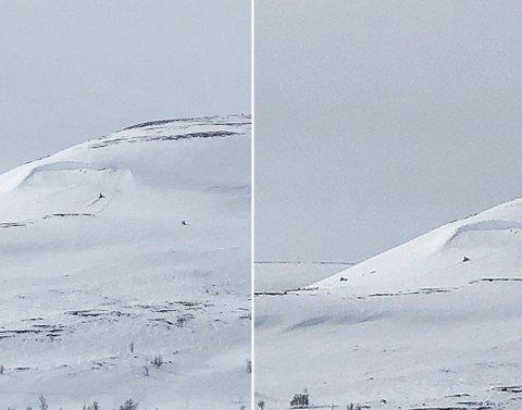BLE BEKYMRET: De to skuterførerne skal flere ganger har kjørt opp den bratte fjellsiden under henget med fokksnø. Det gjorde tilskuerne nedenfor bekymret. Foto: Nordlys-tipser