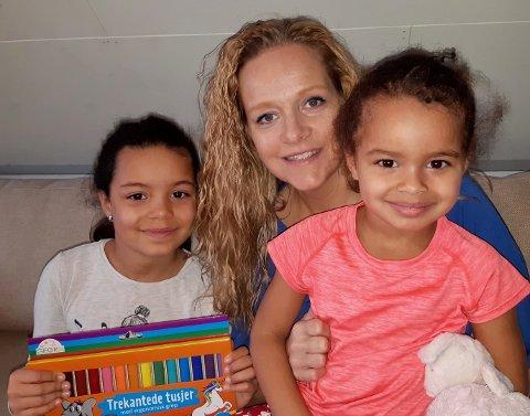STORT ENGASJEMENT: Mange engasjerer seg nå i gruppen til Grethe Giæver Nilsen på Facebook. Her sammen med Arianna (3) og Isabella (6).