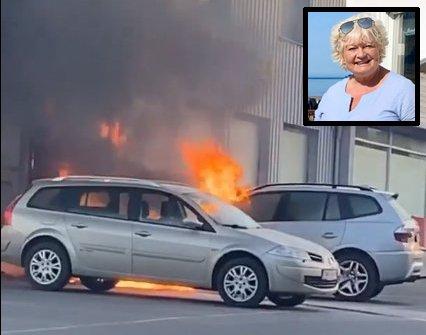 BILEN TOK FYR: Lena Trulssens bil tok fyr utenfor Coop Extra på Silsand mandag kveld.