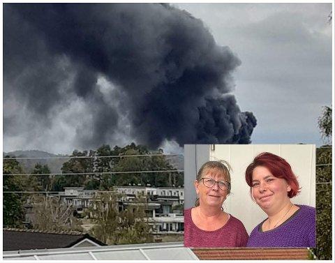 VEKKET MINNER: Berit Håkonsen fikk minner fra sist storbrann da hun så den svarte røyken. Her med niesen Ida-Ellevine Fredriksen.
