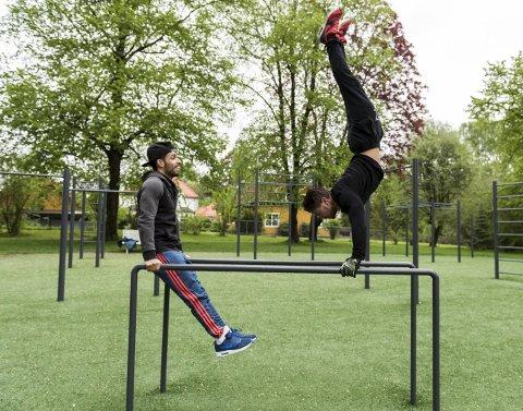 Kai Sindre Gunderhuset og Baker Salama visser hvordan man kan trene i Tufteparken, men her kan man også trene enklere, man må ikke være akrobat for å få utbytte av treningen i Søndre park.