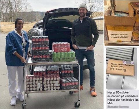DONASJONER: Firmaer og privatpersoner bidrar med utstyr og varer til Ahus under koronakrisen. Her får infeksjonssykepleier Lydia ved infeksjonsavdelingen overrakt kald drikke til pasientene fra sponsoransvarlig i Coca-Cola, Jonas Olsson.