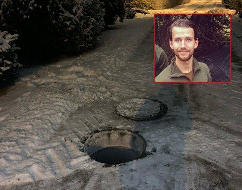 SKUMMELT: Arne Bredesen (innfelt) oppdaget et hull i gangveien mellom Bodals vei og Rokkeveien. Skummelt for skolebarn og andre, mente 26-åringen.  I bildet kan du se sporene i snøen (t.v.) om hvor lokket til kummen egentlig lå.
