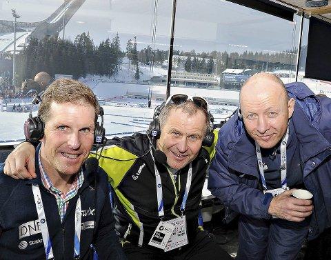 LOKAL TRIO I KOLLEN: Sigmund Vister (fra venstre), Kjell-Erik Kristiansen og Ingar Diskerud bidrar til et vellykket skiskytter-VM i Holmenkollen.