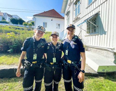 SOMMERVIKARER: F.v.: Ingrid Hovdegard Bergersen, Benedikte Sundfjord og Helene, som ikke ønsker å bli omtalt med etternavn, er alle nyutdannede og har tilbrakt sommeren i Kragerø.