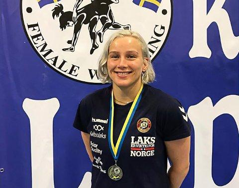 BRONSE: Iselin Moen Solheim gjorde comeback på brytematta etter et halvt år med en kneskade, og tok en sterk bronsemedalje.