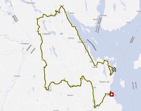 1. ETAPPE: Løypa har start i Åsgårdstrand og målgang i Horten.