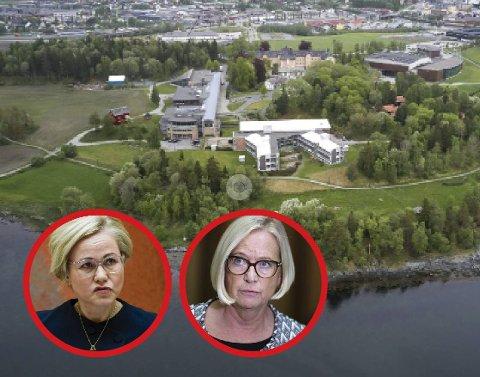 KONFLIKT: Mens Marit Arnstad (Sp) mener Nord universitet har en moralsk plikt til å gjøre opp med Nesna samfunnet, frykter Ingvild Kjerkol imidlertid at Sp's krav vil sette planlagte utviklingsprosjekter ved Nord i fare, blant annet utbygging ved campusen på Røstad i Levanger.