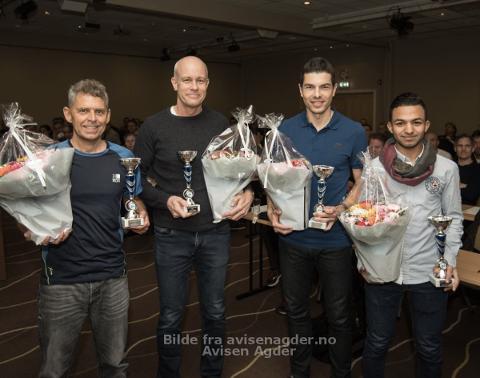 VANT: fra venstre: Terje Haugland, Kenneth Engedal, Tore Hansen og Rasoul Abdulzahar. (Bjørn Helge Dahle var ikke til stede under samlingen)