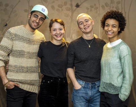 De er alle unge og skal spille i Jon Fosses «Namnet», som har premiere 31. januar. Fra venstre: Peiman       Azizpour, Kristi-Helene J. Engeberg, Kristian Berg Jåtten og Ameli Isungset Agbota.