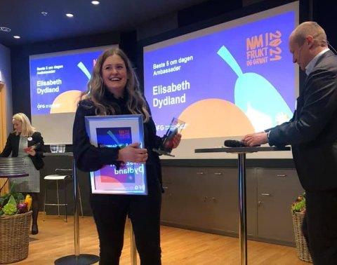 Elisabeth Dydland gikk helt til topps under prisutdelingen i Oslo. Det syntes hun var stor stas.