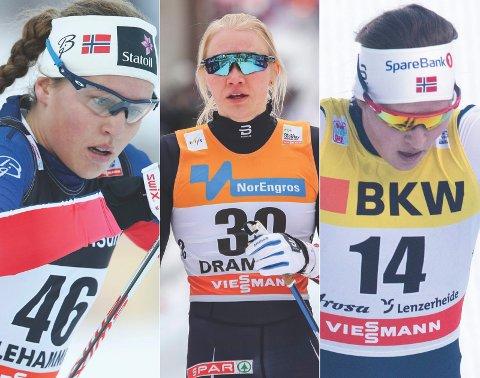 GULLKANDIDATER: Lotta Udnes Weng (t.v.), Amalie Håkonsen Ous og Tiril Udnes Weng ville vært naturlige gullkandidater på søndagens NM-stafett. Nå er de i steden i Tyskland for å kjempe om verdenscuppoeng.
