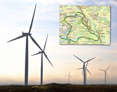 Området: Fjellområdene innenfor den grønne streken, fra Lom/Vågå i nordvest, til Svatsum i sør, er blant de tjue områdenen som NVE nå skal kartlegge for eventuell vindkraftutbygging.kart: nve