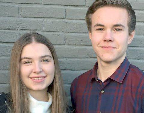 Ungdommens fylkesting: Leder Tarjei Svalbjørg, Steigen/Hamarøy (t.h.) og nestleder Sirianna Stormo Pettersen, Meløy.