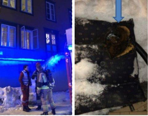 RYKKET UT: Brannvesenet rykket ut til Vestregata i november 2019. Det viste seg at en mann hadde mistet en sigarett i en stol, og dermed oppstod det en ulmebrann. Stolen ble kastet ut (bildet til høyre) mens leiligheten ble luftet ut.