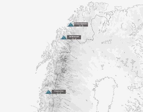 Meteorologene melder at det ventes minusgrader og snø i høyden i Nord-Norge denne uka.