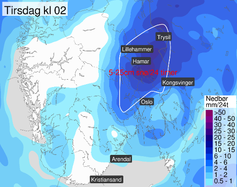 OBS! Mandag kan det komme mye nedbør, enten som regn eller snø.