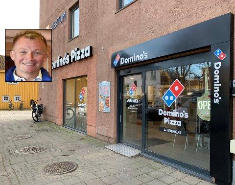 GÅR GODT: Domino's Pizza i Tønsberg er en av landets mest lønnsomme filialer i landet. Nå skal Petter Stavnem ansette flere for å takle kundetrykket.