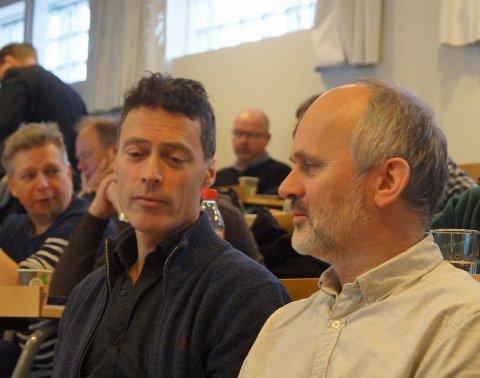 BEVISST ENERGIBRUK: Stein Stoknes (til venstre) fra FutureBuilt og Bård Solem fra Eggen Arkitekter på fagmøte om bevisst energibruk i bygg.
