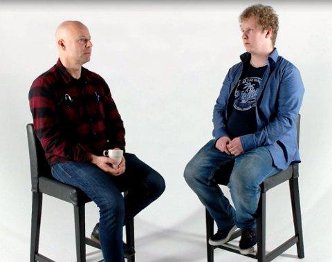 MØTET: Andreas Ribe-Nyhus (47) er dømt for drapet på Romerike. Her blir han intervjuet av Eskild Vika Amundsen, sønnen til mannen han drepte. Foto: Skjermdump TV2