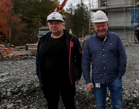 ALLBYGG: Allbygg har stor aktivitet og kjempar om mange prosjekt, men vinn ikkje alltid fram: Her driftsleiar Asle Solvang og dagleg leiar Ludvik Solvang.