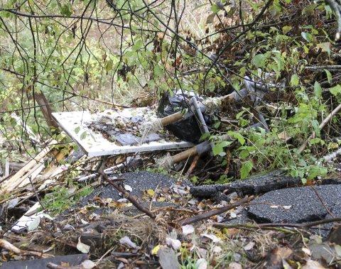 ASFALTRESTER: Er blandet med bygningsavfall og biologisk avfall. Begge foto: Lars Ivar Hordnes